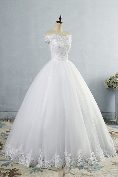 Latest Lace-up Tulle Appliques A-line Wedding Dress_4