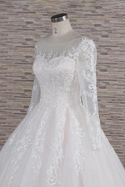 Graceful Appliques Long Sleeve A-line Wedding Dress_6
