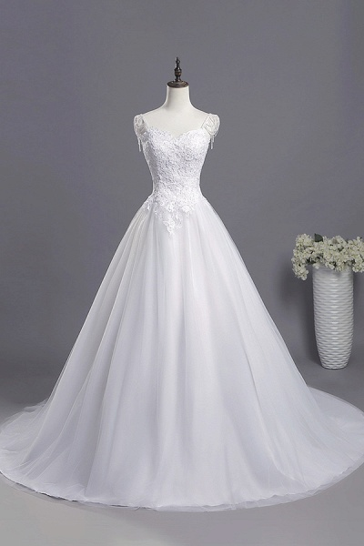 Beading Appliques Lace A-line Tulle Wedding Dress_1