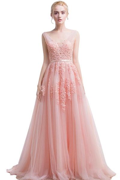 Fabulous V-neck Tulle A-line Evening Dress_3