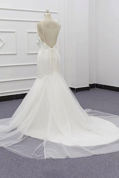 Chic Spaghetti Strap Beading Mermaid Wedding Dress_5