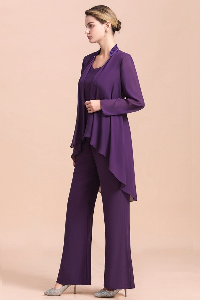 Straps Beading Grape Chiffon Long Sleeve Mother of Bride Jumpsuit With Wrap_9