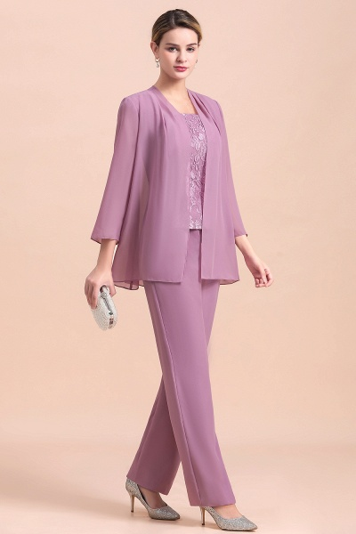 Elegant Lace Cap Sleeves Chiffon Mother of Bride Jumpsuit With Wrap_4