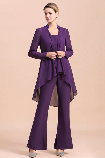 Straps Beading Grape Chiffon Long Sleeve Mother of Bride Jumpsuit With Wrap_7