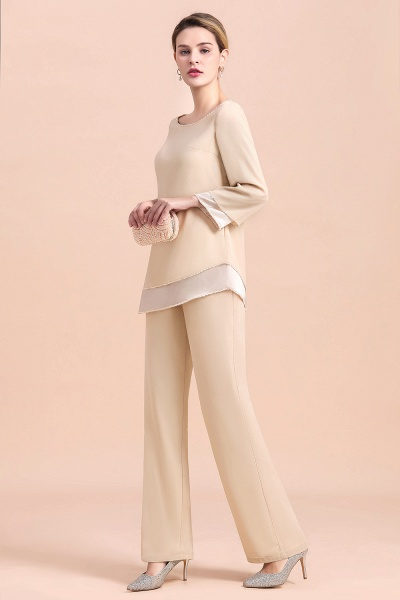 Chic Champagne Chiffon Long Sleeve Mother of Bride Jumpsuit_5