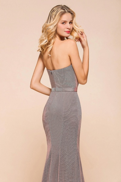 Elegant Strapless Front Split Mermaid Prom Dress_9
