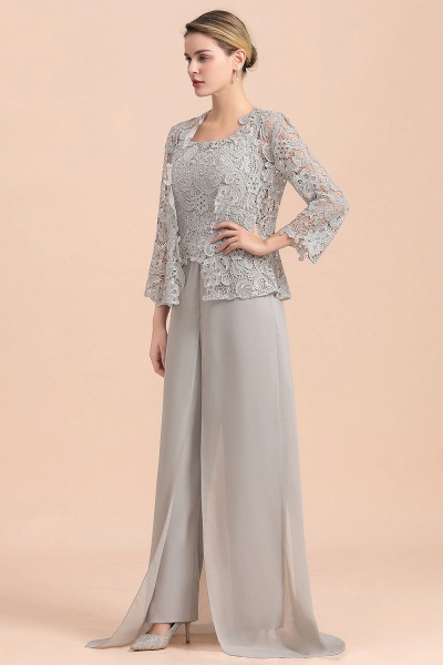 Chic Silver Lace Chiffon Long Sleeve Mother of Bride Jumpsuit With Wrap_5