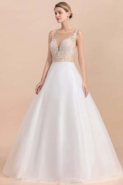 Graceful Illusion Lace Tulle A-line Wedding Dress_8