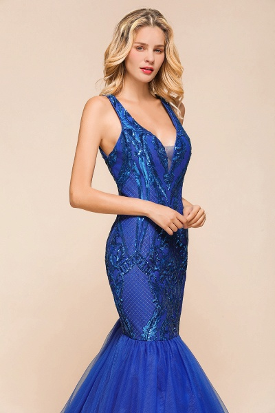 Gorgeous V-neck Open Back Sequins Mermaid Prom Dress_8