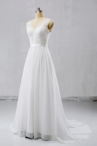 V-neck Lace Chiffon Flowy A-line Wedding Dress_1