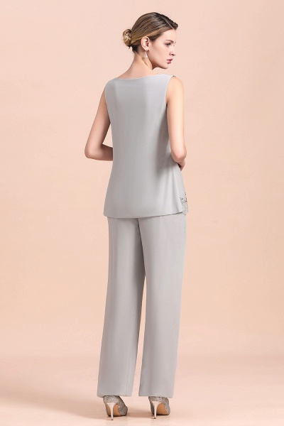 Glamorous Appliques Sleeveless Silver Chiffon Mother of Bride Jumpsuit With Wrap_6