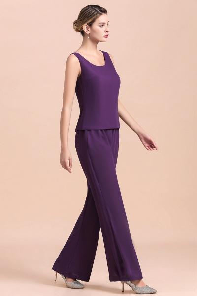 Straps Beading Grape Chiffon Long Sleeve Mother of Bride Jumpsuit With Wrap_10