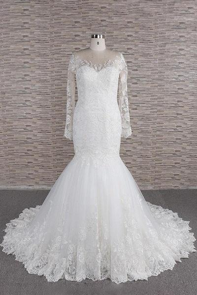 Graceful Appliques Long Sleeve Mermaid Wedding Dress_1