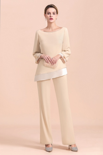 Chic Champagne Chiffon Long Sleeve Mother of Bride Jumpsuit_6