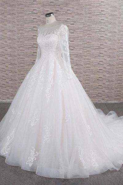 Graceful Appliques Long Sleeve A-line Wedding Dress_4