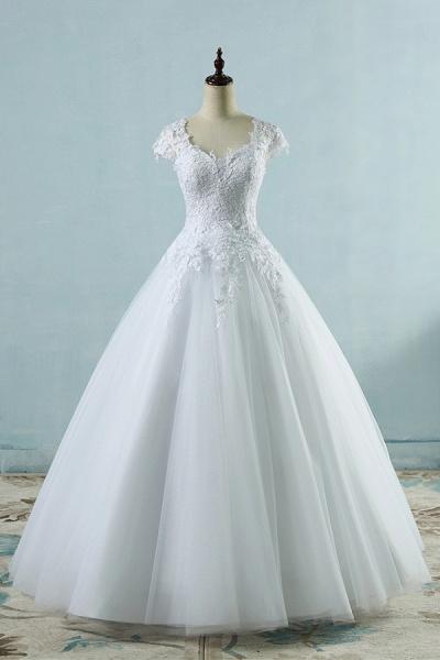 Appliques Cap Sleeve Tulle A-line Wedding Dress_1