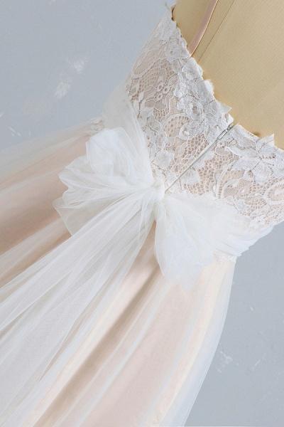 Cute Spaghetti Strap Lace A-line Wedding Dress_6