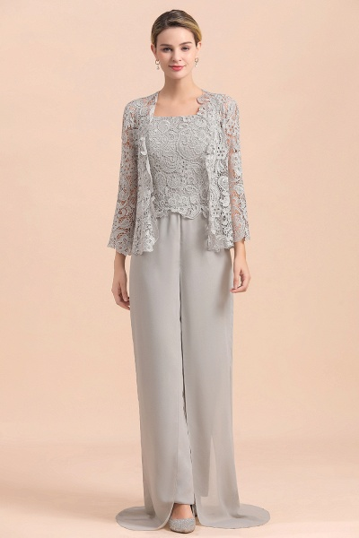 Chic Silver Lace Chiffon Long Sleeve Mother of Bride Jumpsuit With Wrap_8