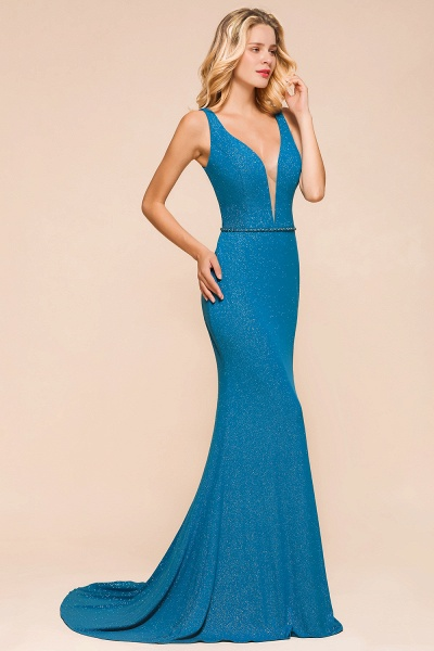 Elegant Open Back V-neck Long Mermaid Prom Dress_4