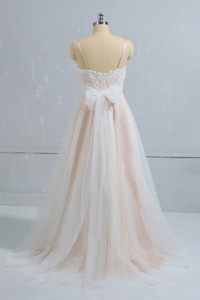 Cute Spaghetti Strap Lace A-line Wedding Dress_3