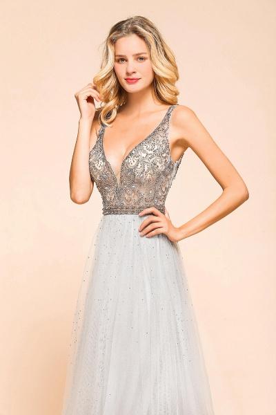 Latest Beading V-Neck Tulle Floor Length Prom Dress_8