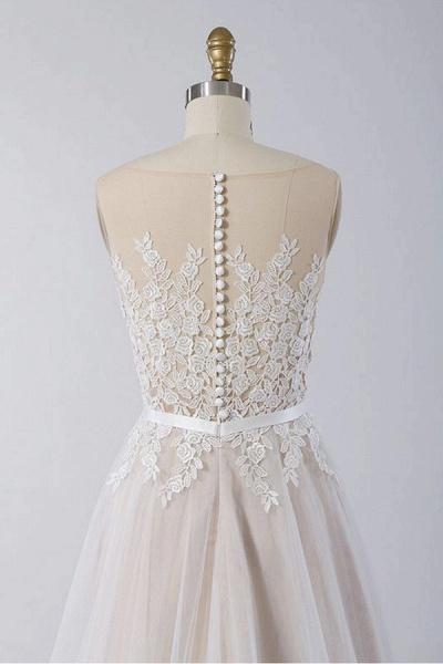 Floor Length Appliques A-line Tulle Wedding Dress_4