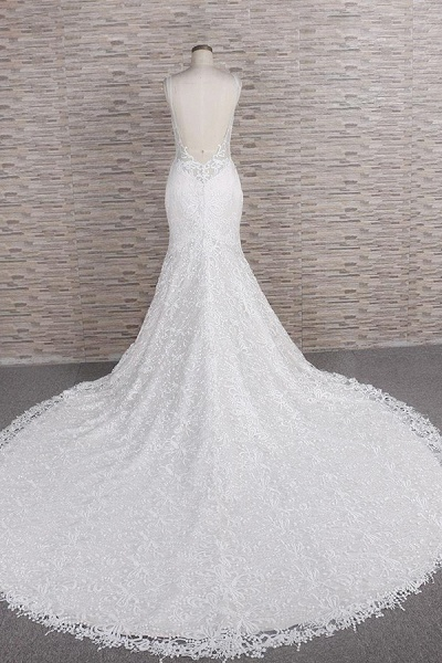 Chic Spaghetti Strap Appliques Mermaid Wedding Dress_3