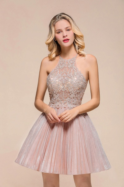 Cute Pleated Lace Appliques A-line Short Prom Dress_6