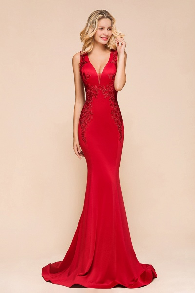 Stunning V-neck Lace Appliques Mermaid Prom Dress_5