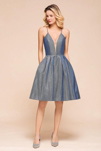 Glitter Spaghetti Strap A-line Short Prom Dress_1
