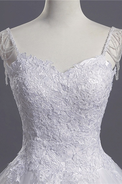 Beading Appliques Lace A-line Tulle Wedding Dress_5