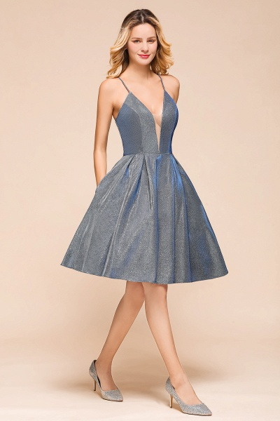 Glitter Spaghetti Strap A-line Short Prom Dress_5