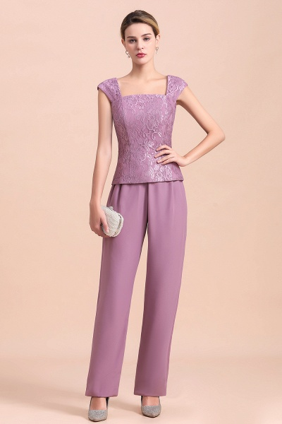 Elegant Lace Cap Sleeves Chiffon Mother of Bride Jumpsuit With Wrap_7