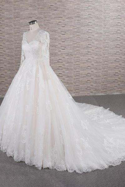 Graceful V-neck Long Sleeve Appliques Wedding Dress_4