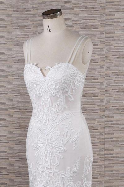 Chic Spaghetti Strap Appliques Mermaid Wedding Dress_6