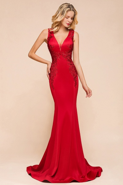 Stunning V-neck Lace Appliques Mermaid Prom Dress_6