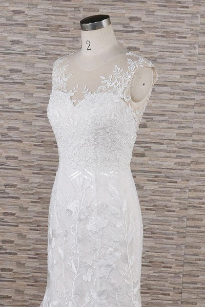 Elegant Lace Appliques Tulle Mermaid Wedding Dress_7