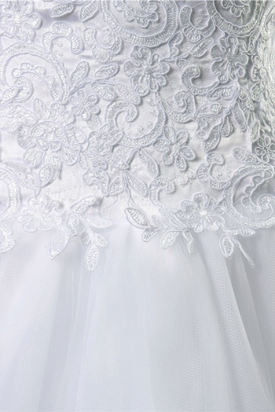 Chic Strapless Appliques A-line Tulle Wedding Dress_6