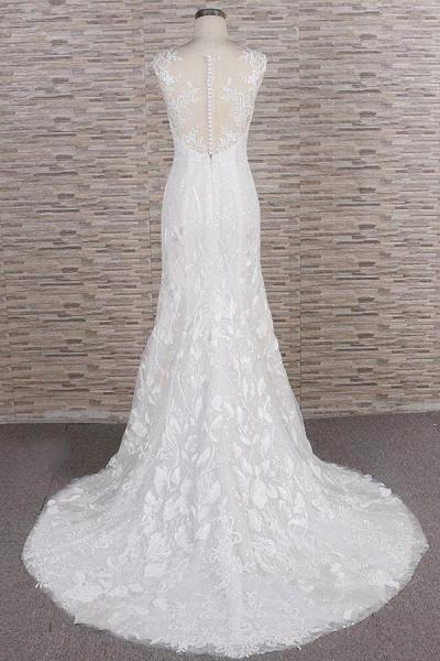 Elegant Lace Appliques Tulle Mermaid Wedding Dress_3