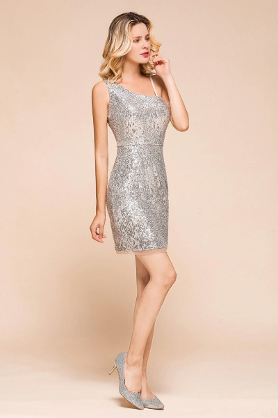 Affordable One Shoulder Sheath Short Prom Dress_5
