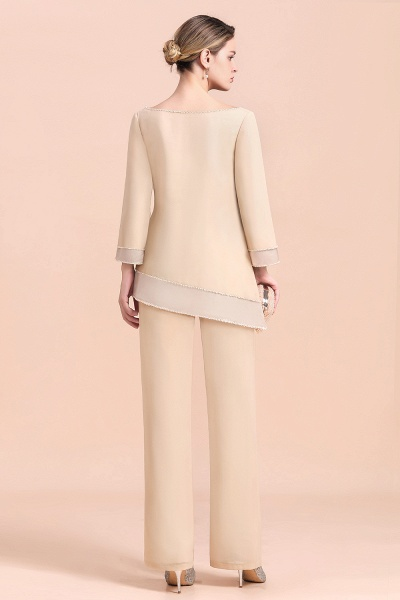 Chic Champagne Chiffon Long Sleeve Mother of Bride Jumpsuit_3