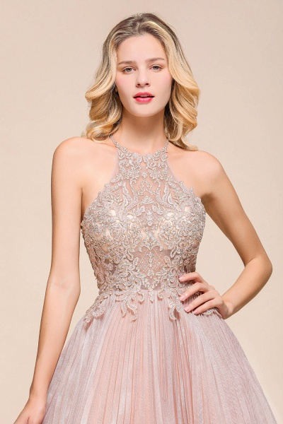 Cute Pleated Lace Appliques A-line Short Prom Dress_9