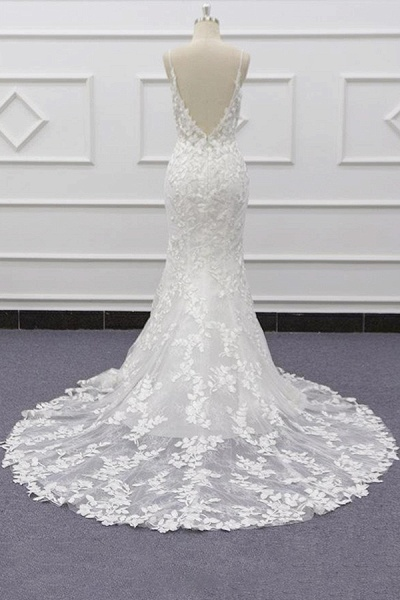 Best Spaghetti Strap Appliques Mermaid Wedding Dress_3