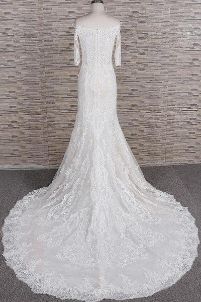 Awesome Appliques Court Train Mermaid Wedding Dress_3
