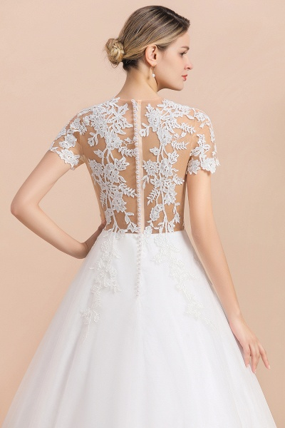Chic Lace Tulle A-line Short Sleeve Wedding Dress_9