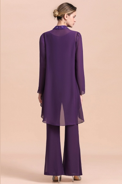 Straps Beading Grape Chiffon Long Sleeve Mother of Bride Jumpsuit With Wrap_3
