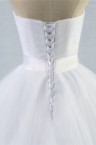 Simple Ruffle Strapless Tulle A-line Wedding Dress_4