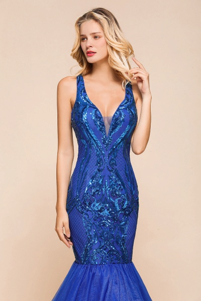 Gorgeous V-neck Open Back Sequins Mermaid Prom Dress_7