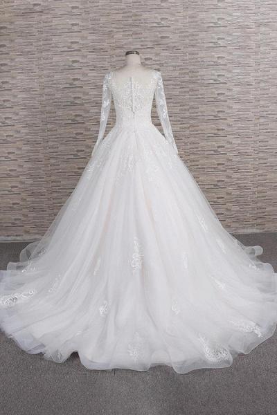 Graceful Appliques Long Sleeve A-line Wedding Dress_3