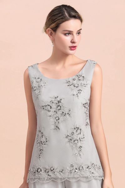 Glamorous Appliques Sleeveless Silver Chiffon Mother of Bride Jumpsuit With Wrap_9